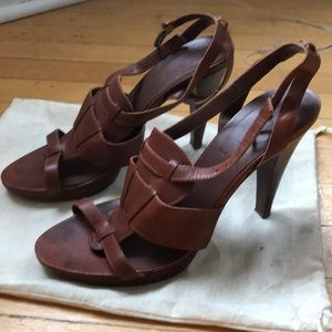 J. Crew. Brown Leather High Heel Sandal